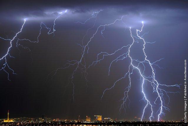 Lightning flashes over the Las Vegas