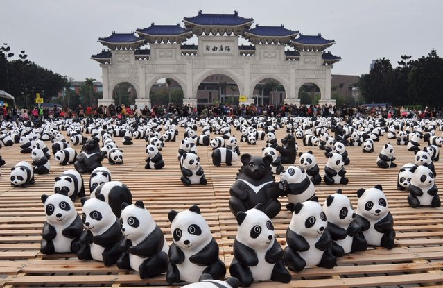 "Two hundred paper Formosan Black Bears are surrounded by paper pandas at an exhibition called ""Pandas on Tour"" at the Liberty Square of National Chiang Kai-shek Memorial Hall in Taipei on March 14, 2014. Some 1,600 paper made pandas are on display, designed by French artist Paulo Grangeon. (Photo by Mandy Cheng/AFP Photo)"
