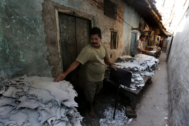Indian laborers handle dry leather pieces to soften them at a tannery workshop in a lane in Calcutta, eastern India, 17 February 2014. (Photo by Piyal Adhikary/EPA)