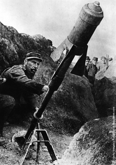 1914: A French air-torpedo being fired from the trenches