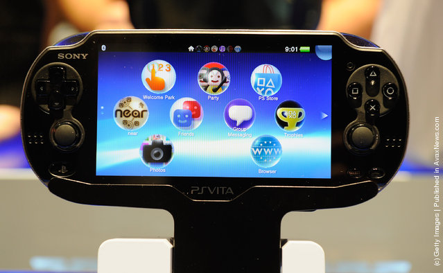 A Sony PS Vita is on display at the Sony booth during the 2012 International Consumer Electronics Show