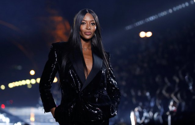Naomi Campbell presents a creation by designer Anthony Vaccarello as part of his Spring/Summer 2020 women's ready-to-wear collection show for Saint Laurent during Paris Fashion Week, France, September 24, 2019. (Photo by Gonzalo Fuentes/Reuters)