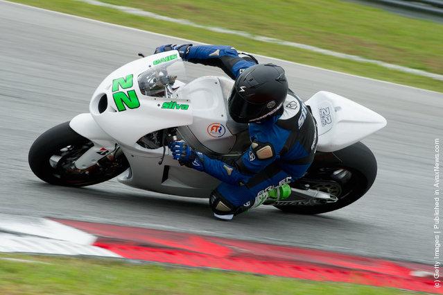 Ivan Silva of Spain and Avintia Racing MotoGP rounds the bend during the first day of MotoGP testing at Sepang Circuit