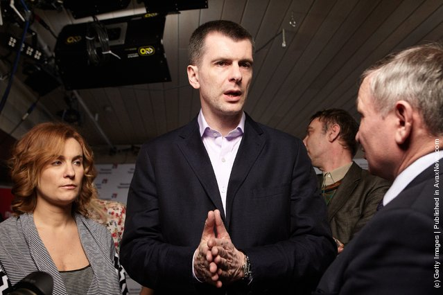 Presidential candidate Mikhail Prokhorov speaks following a press conference in his election office on March 04, 2012 in Moscow, Russia