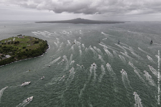 The fleet of Volvo Open 70's head out into open water, at the start of leg 5 from Auckland, New Zealand to Itajai, Brazil, during the Volvo Ocean Race 2011-12