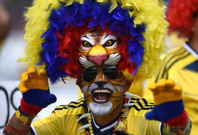 A Colombian supporter waits for the start of a Group C football match between Colombia and Greece at the Mineirao Arena in Belo Horizonte during the 2014 FIFA World Cup on June 14, 2014. (Photo by Pedro Ugarte/AFP Photo)