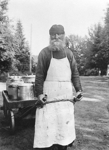 Priest, Father Gerontius with a barrow. Valamo Monastery, Karelia, Russia (then Finland). (Photo by Einar Erici)