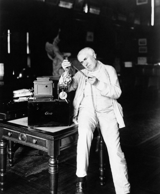 Inventor Thomas A. Edison examines film, October 6, 1889. (Photo by AP Photo)