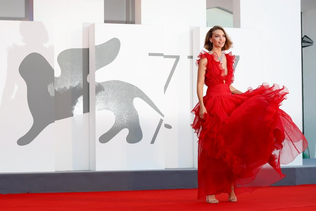 """British-American fashion model Arizona Muse walks the red carpet ahead of the movie """"Miss Marx"""" at the 77th Venice Film Festival on September 05, 2020 in Venice, Italy. (Photo by Yara Nardi/Reuters)"""
