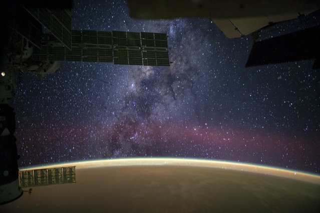 A photograph of the Milky Way taken by astronauts on board the International Space Station (ISS) on September 27, 2014. (Photo by NASA/SPL/Barcroft Media)