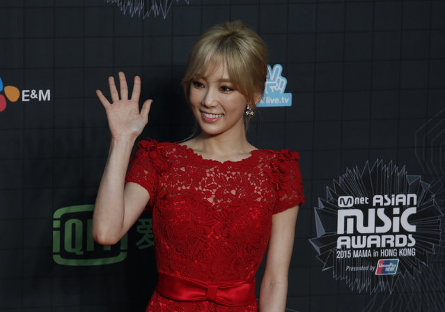 South Korean singer TaeYeon poses on the red carpet during 2015 Mnet Asian Music Awards (MAMA) in Hong Kong, China, December 2, 2015. (Photo by Bobby Yip/Reuters)
