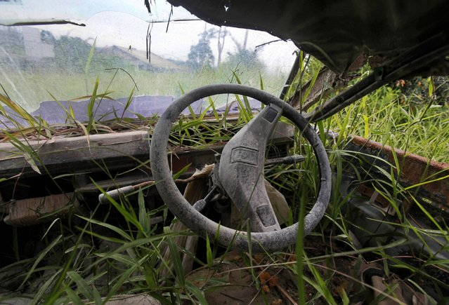 The wreckage of a van is overgrown by plants in Simacem village in North Sumatra, Indonesia, November 16, 2015. The village was abandoned following the eruption of Mount Sinabung as it was considered too close to the still rumbling volcano. (Photo by Binsar Bakkara/AP Photo)