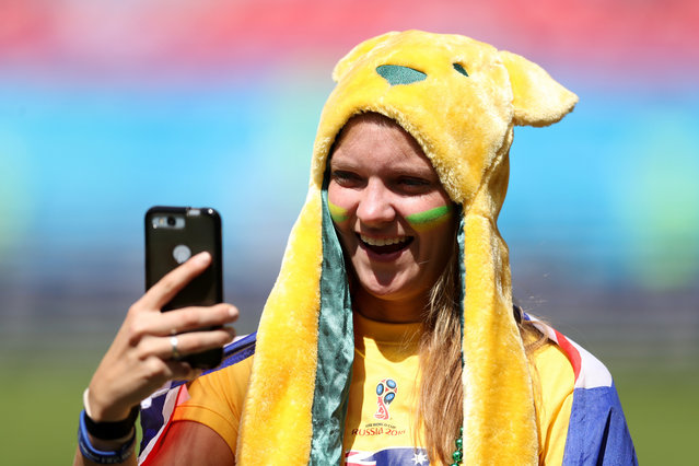 An Australia fan enjoys the pre match atmosphere prior to the 2018 FIFA World Cup Russia group C match between France and Australia at Kazan Arena on June 16, 2018 in Kazan, Russia. (Photo by Catherine Ivill/Getty Images)