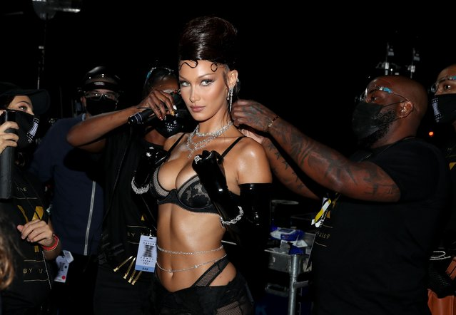 In this image released on October 2, Bella Hadid is seen backstage during Rihanna's Savage X Fenty Show Vol. 2 presented by Amazon Prime Video at the Los Angeles Convention Center in Los Angeles, California; and broadcast on October 2, 2020. (Photo by Jerritt Clark/Getty Images for Savage X Fenty Show Vol. 2 Presented by Amazon Prime Video)