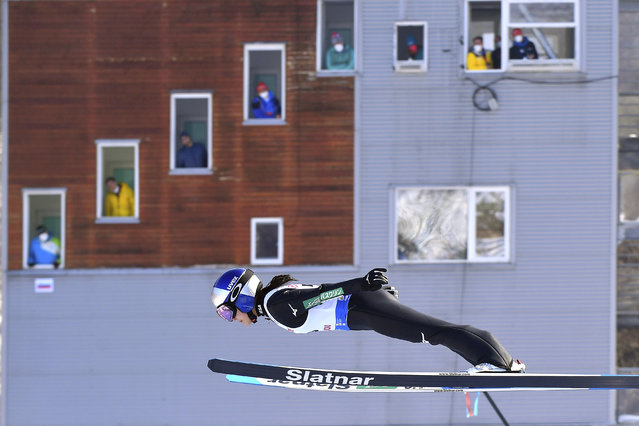 Japan's Sara Takanashi competes at the women's Ski Jumping World Cup event in Rasnov, Romania, Friday, February 19, 2021. (Photo by Raed Krishan/AP Photo)