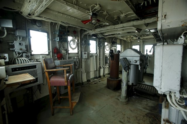 The interior of the ship's bridge on the yacht Galeb is seen in the port city of Rijeka, December 16, 2015. Rijeka announced plans to convert the yacht Galeb used by Yugoslavia's communist leader Josip Broz Tito into a floating museum moored in the city's harbour. Now in disrepair, the 117-metre ship was an iconic symbol of luxury and used by Tito from the 1950s until his death in 1980 to entertain world leaders and celebrities, including  the likes of Khruschev, Gaddafi, Indira Gandhi, Elizabeth Taylor and Richard Burton. (Photo by Antonio Bronic/Reuters)