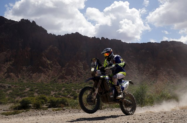 Florent Vayssade of France rides his Sherco TVS during the fifth stage of the Dakar Rally from Jujuy to Uyuni, near Uyuni, Bolivia, January 7, 2016. (Photo by Marcos Brindicci/Reuters)