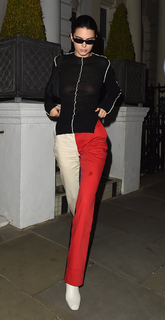 Kendall Jenner enjoys a night out in London at Ruya restaurant in Mayfair on September 17, 2018 following her Burberry Catwalk appearance. (Photo by Hewitt/Splash News and Pictures)