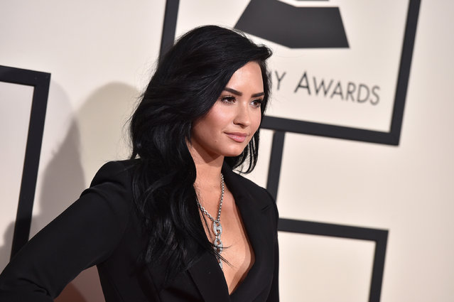 Demi Lovato arrives at the 58th annual Grammy Awards at the Staples Center on Monday, February 15, 2016, in Los Angeles. (Photo by Jordan Strauss/Invision/AP Photo)