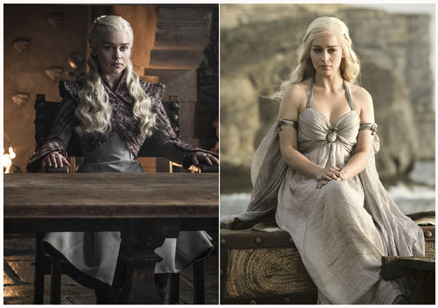 "This combination photo of images released by HBO shows Emilia Clarke portraying Daenerys Targaryen in ""Game of Thrones"". The final season of the popular series premieres on April 14. (Photo by HBO via AP Photo)"