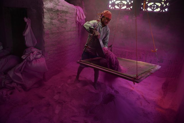"An Indian labourer sifts coloured powder, known as ""gulal"", to be used during the forthcoming spring festival of Holi, inside a factory at Fulbari village on the outskirts of Siliguri on March 9, 2014. Holi, the popular Hindu spring festival of colours is observed in India at the end of the winter season on the last full moon of the lunar month and will be celebrated on March 16 this year. (Photo by Diptendu Dutta/AFP Photo)"