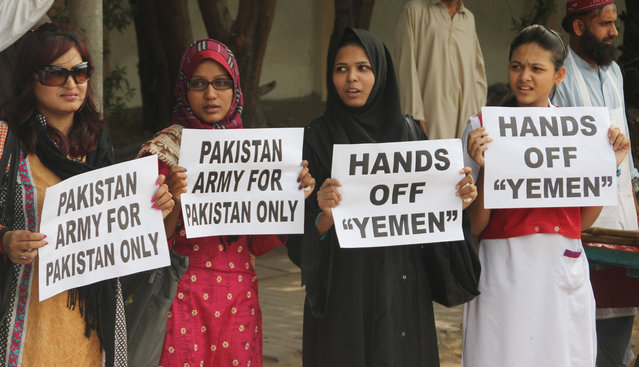 Members of Pakistan's civil society rally against the Saudi-led coalition targeting Shiite rebels in Yemen, in Karachi, Pakistan, Monday, April 6, 2015. The coalition targeting Shiite rebels in Yemen has asked Pakistan to contribute soldiers, Pakistan's defense minister said Monday, raising the possibility of a ground offensive in the country. (Photo by Shakil Adil/AP Photo)