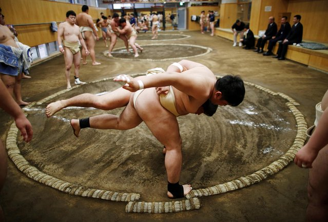 College students work out at the sumo wrestling club at Nippon Sports Science University in Tokyo, Japan on May 22, 2019. (Photo by Issei Kato/Reuters)