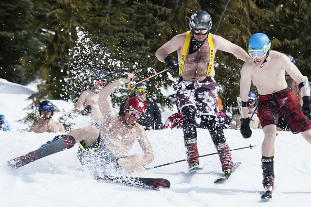 A skier crashes during the Bikini & Board Shorts Downhill at Crystal Mountain, a ski resort near Enumclaw, Washington April 19, 2014. Skiers and snowboarders competed for a chance to win one of four season's passes. (Photo by David Ryder/Reuters)
