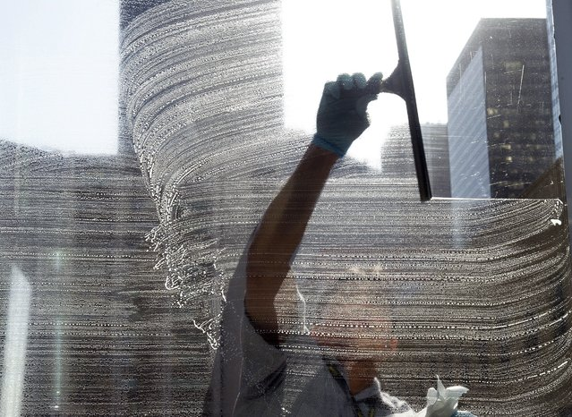 Kristoffer Comia does some Spring cleaning on windows at the court building on a warm sunny day in downtown Calgary, on Tuesday, April 22, 2014. (Photo by Larry MacDougal/The Canadian Press)