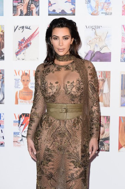 Kim Kardashian West arrives for the Gala to celebrate the Vogue 100 Festival at Kensington Gardens on May 23, 2016 in London, England. (Photo by Jeff Spicer/Getty Images)