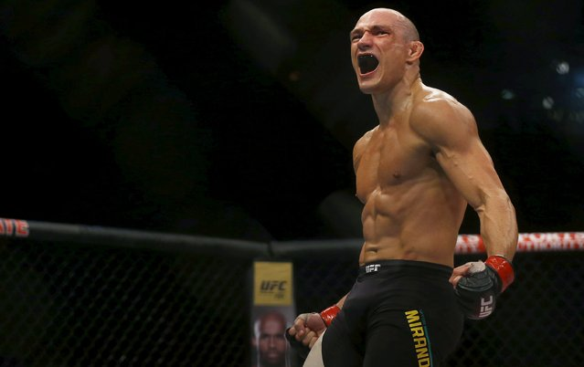 Vitor Miranda of Brazil celebrates after defeating Clint Hester of U.S during the Ultimate Fighting Championship (UFC), a professional mixed martial arts (MMA) competition in Rio de Janeiro, Brazil August 1, 2015. (Photo by Ricardo Moraes/Reuters)