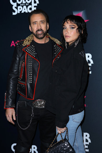 """(L-R) Actor Nicolas Cage and recording artist Kesha attend the special screening of """"Color Out Of Space"""" at the Vista Theatre on January 14, 2020 in Los Angeles, California. (Photo by JC Olivera/Getty Images)"""