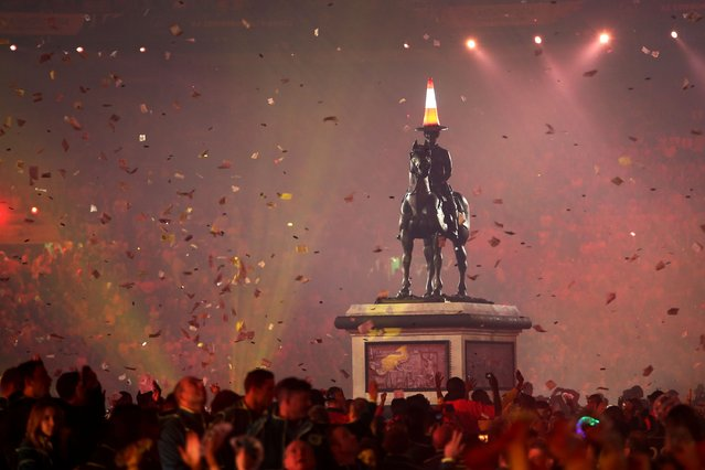 A replica of the Duke of Wellington Statue is seen during the Opening Ceremony for the Glasgow 2014 Commonwealth Games at Celtic Park on July 23, 2014 in Glasgow, Scotland. (Photo by Chris Jackson/Getty Images)