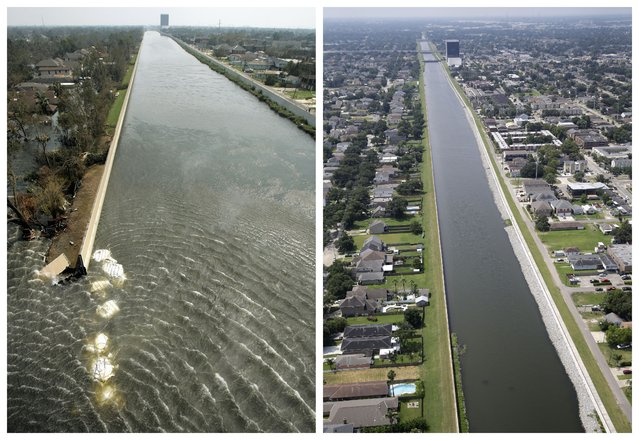 This combination of September 3, 2005 and July 29, 2015 aerial photos show the 17th Street Canal flood wall breach and the Lakeview section of New Orleans flooded by Hurricane Katrina and the same area a decade later. (Photo by Haraz N. Ghanbari/Gerald Herbert/AP Photo)