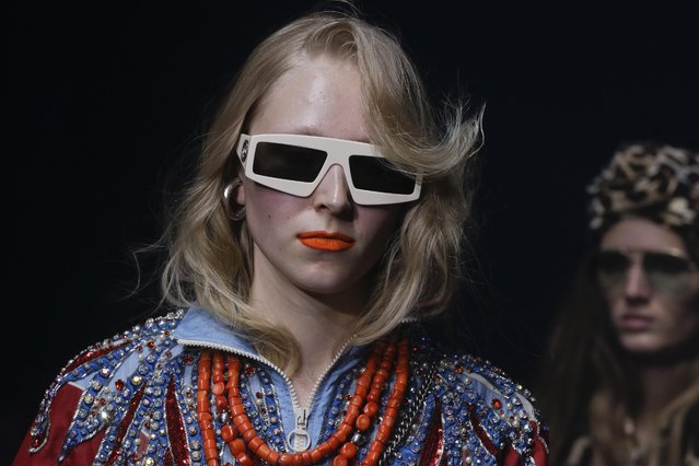 A model wears a creation part of Gucci's women Fall/Winter 2018/19 fashion collection, presented in Milan, Italy, Wednesday, September 20, 2017. (Photo by Luca Bruno/AP Photo)