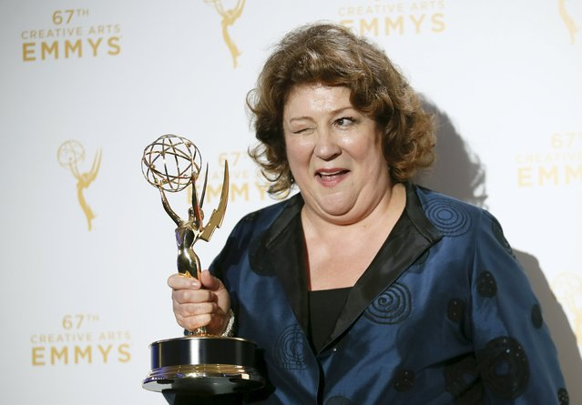 "Actress Margo Martindale poses with her Outstanding Guest Actress in a Drama Series award for her work on ""The Americans"" backstage at the 2015 Creative Arts Emmy Awards in Los Angeles, California September 12, 2015. (Photo by Danny Moloshok/Reuters)"