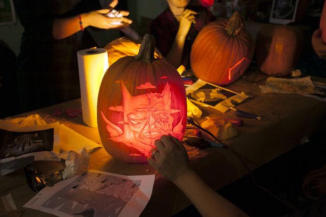A Dima Drjuchin pumpkin at Cotton Candy Machine in Brooklyn, N.Y. on October 18, 2014. (Photo by Siemond Chan/Yahoo Finance)