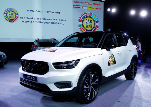 The Volvo XC40, winner of the Car of the Year award is presented during the press day at the 88th Geneva International Motor Show in Geneva, Switzerland on Tuesday, March 6, 2018. (Photo by Denis Balibouse/Reuters)