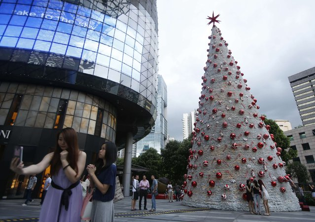 People take 'selfies' at a Christmas tree outside a mall along Orchard Road in Singapore December 18, 2014. (Photo by Edgar Su/Reuters)
