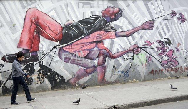 Graffiti in Bogota, Colombia on January 7, 2016. (Photo by Raul Arboleda/AFP Photo)
