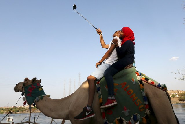 A couple takes a selfie while riding on a camel in Gharb Suheil village, near Aswan, in Egypt, October 1, 2015.   Picture taken October 1, 2015. (Photo by Mohamed Abd El Ghany/Reuters)