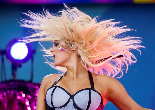 """Singer Bebe Rexha performs on ABC's """"Good Morning America"""" show in New York, U.S., June 22, 2018. (Photo by Brendan McDermid/Reuters)"""