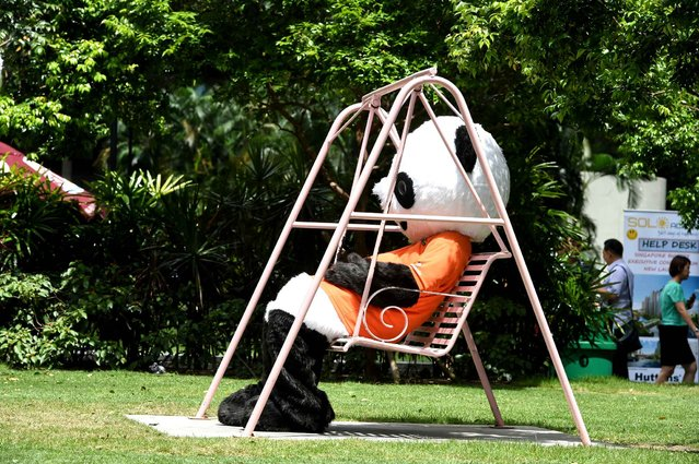 A promoter dressed in a panda outfit takes a break on a swing in the financial district of Raffles Place in Singapore on February 3, 2016. Job vacancies in Singapore declined in 2015, although it still exceeded the number of jobseekers, the country's Ministry of Manpower (MOM) said on February 3. (Photo by Roslan Rahman/AFP Photo)