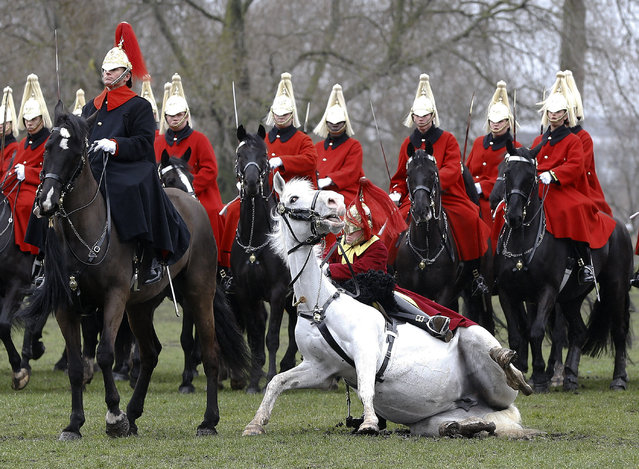 A trumpeter falls off his horse as the Household Cavalry Mounted Regiment parades in Hyde Park in London, Thursday, March 26, 2015. The regiment was undergoing their annual inspection to validate their ability to conduct state ceremonial duties for the year. 160 horses were paraded accompanied by the mounted Band of the Life Guards and Band of the Blues and Royals. (Photo by Kirsty Wigglesworth/AP Photos)