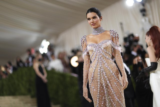 US model Kendall Jenner arrives for the 2021 Met Gala at the Metropolitan Museum of Art on September 13, 2021 in New York. (Photo by Mario Anzuoni/Reuters)