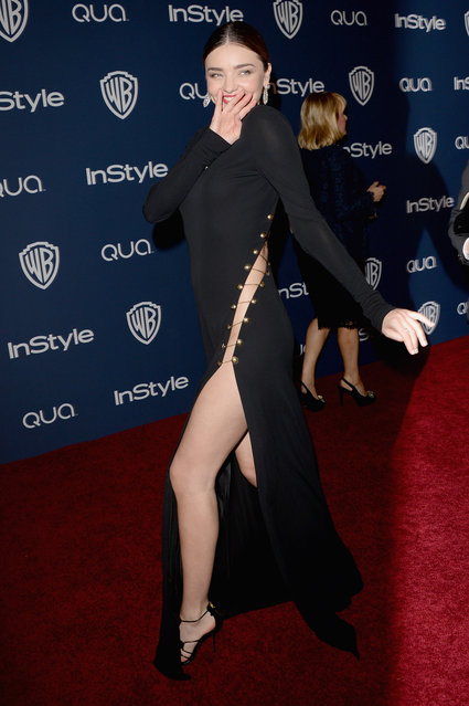 Model Miranda Kerr attends the 2014 InStyle and Warner Bros. 71st Annual Golden Globe Awards Post-Party on January 12, 2014 in Beverly Hills, California. (Photo by Jason Merritt/Getty Images)