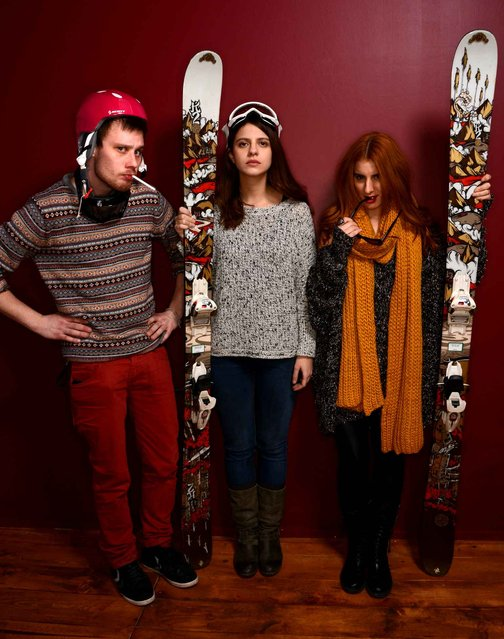 (L-R) Actor Mladen Sovilj, filmmaker Mina Djukic and actress Hana Selimovic pose for a portrait during the 2014 Sundance Film Festival at the Getty Images Portrait Studio at the Village At The Lift on January 21, 2014 in Park City, Utah. (Photo by Larry Busacca/AFP Photo)
