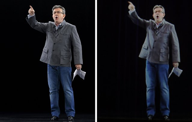 A combination picture shows politician Jean-Luc Melenchon (L), of the French far-left Parti de Gauche, and candidate for the 2017 French presidential election, as he delivers a speech during a campaign rally in Chassieu, near Lyon, and his hologram (R) speaking to supporters who are gathered in Saint-Denis, near Paris, France, February 5, 2017. (Photo by Reuters)