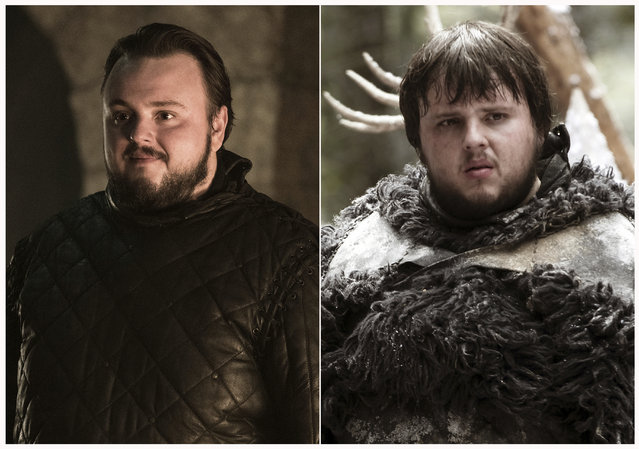"This combination photo of images released by HBO shows John Bradley portraying Samwell Tarly in ""Game of Thrones"". The final season of the popular series premieres on April 14. (Photo by HBO via AP Photo)"