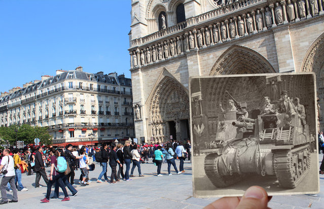 A tank at Notre Dame Cathedral in the 1940s. (Photo by Julien Knez/Caters News)